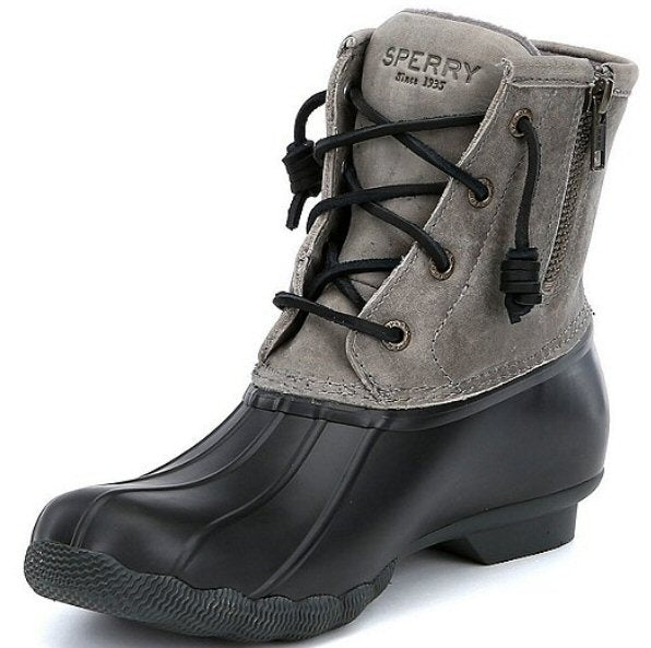 Sperry Womens Saltwater Duck Boots-Black/Grey