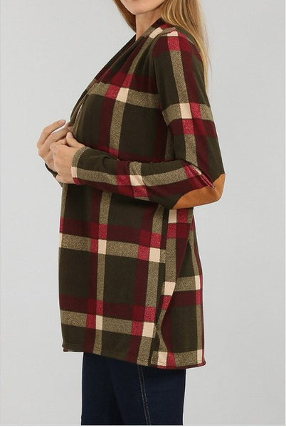 Sun & Moon Plaid Open Front Cardigan-Olive - Bennett's Clothing - 2