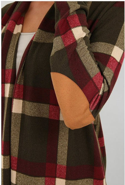 Sun & Moon Plaid Open Front Cardigan-Olive