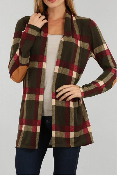 Sun & Moon Plaid Open Front Cardigan-Olive - Bennett's Clothing - 1