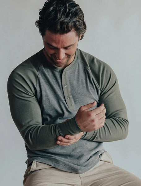The Normal Brand Puremeso Retro Henley-Grey/Green