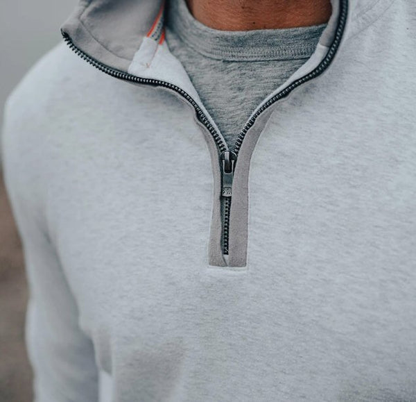 The Normal Brand Puremeso Quarter Zip Pullover-Stone