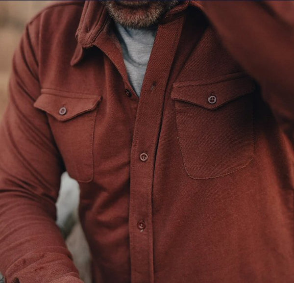 The Normal Brand Knit Workman Shirt Jacket-Brown