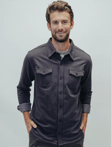 The Normal Brand Knit Workman Shirt Jacket-Charcoal
