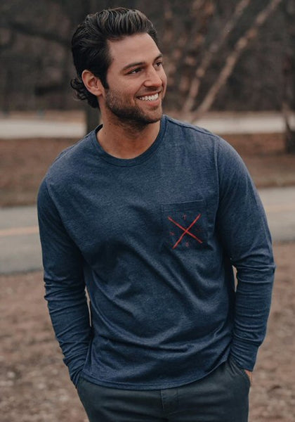 The Normal Brand Mountain Bear Long Sleeve Tee-Navy