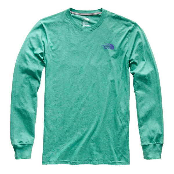 The North Face Long Sleeve Red Box Tee-Porcelain Green Heather-Deep Blue