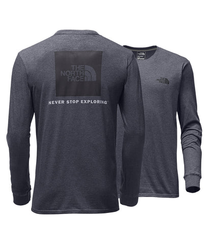 The North Face Long Sleeve Red Box Tee-Heather Grey