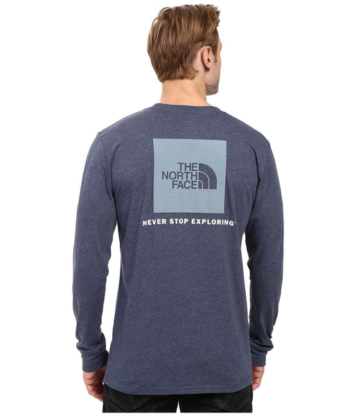 The North Face Long Sleeve Red Box Tee-Cosmic Blue - Bennett's Clothing - 1
