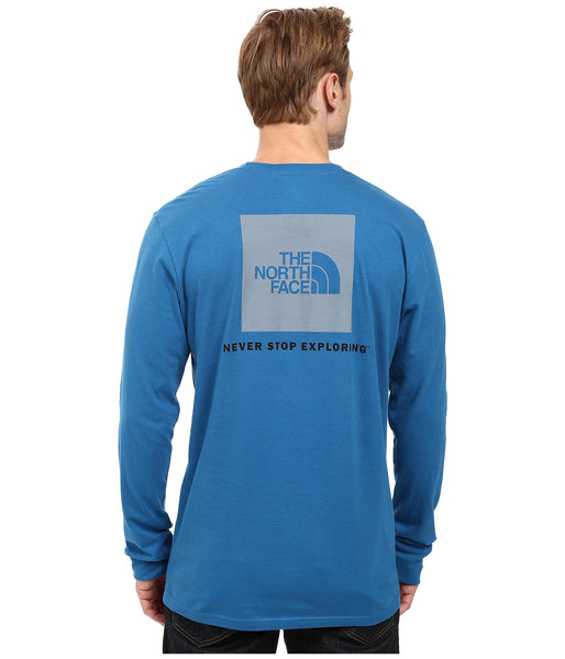 The North Face Long Sleeve Red Box Tee-Banff Blue-Grey - Bennett's Clothing - 1