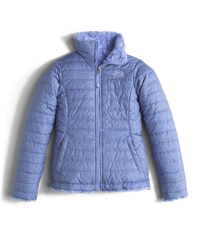 The North Face Girls Reversible Mossbud Swirl Jacket-Grapemist Blue Denim Print - Bennett's Clothing - 1
