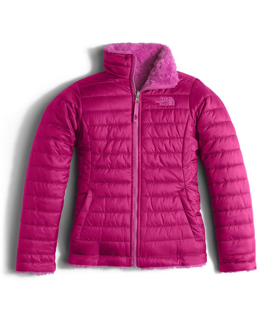 The North Face Girls Reversible Mossbud Swirl Jacket-Roxbury Pink - Bennett's Clothing - 1