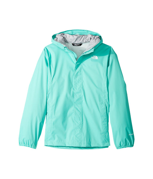 The North Face Girls Resolve Reflective Rain Jacket-Bermuda Green