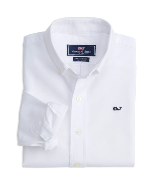 Vineyard Vines Boy's Oxford Whale Button Down Shirt-White