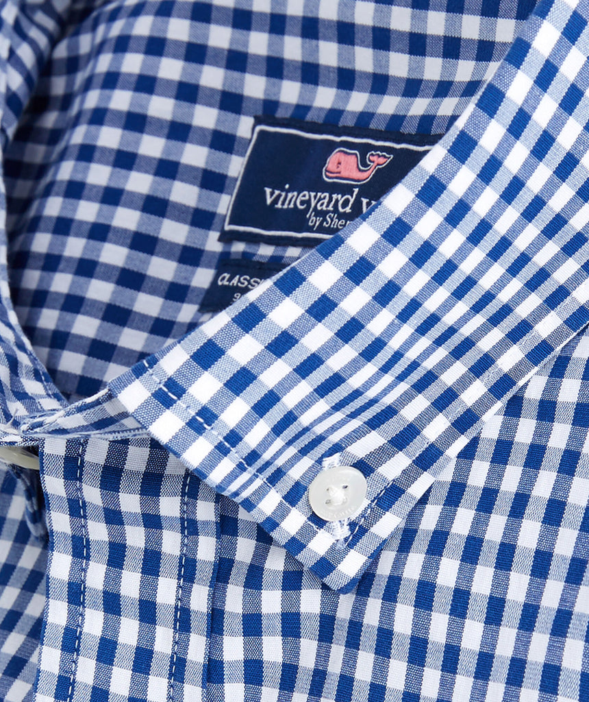 Vineyard Vines Men/'s Bluff Check Ocean Blue Check Whale Shirt