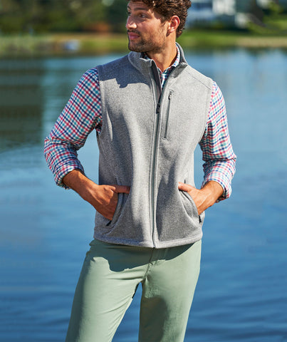 Vineyard Vines Mountain Sweater Vest-Grey Heather