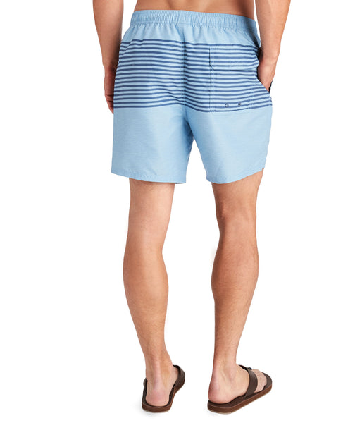 Vineyard Vines Heathered Stripe Chappy Swim Trunks-Coastline