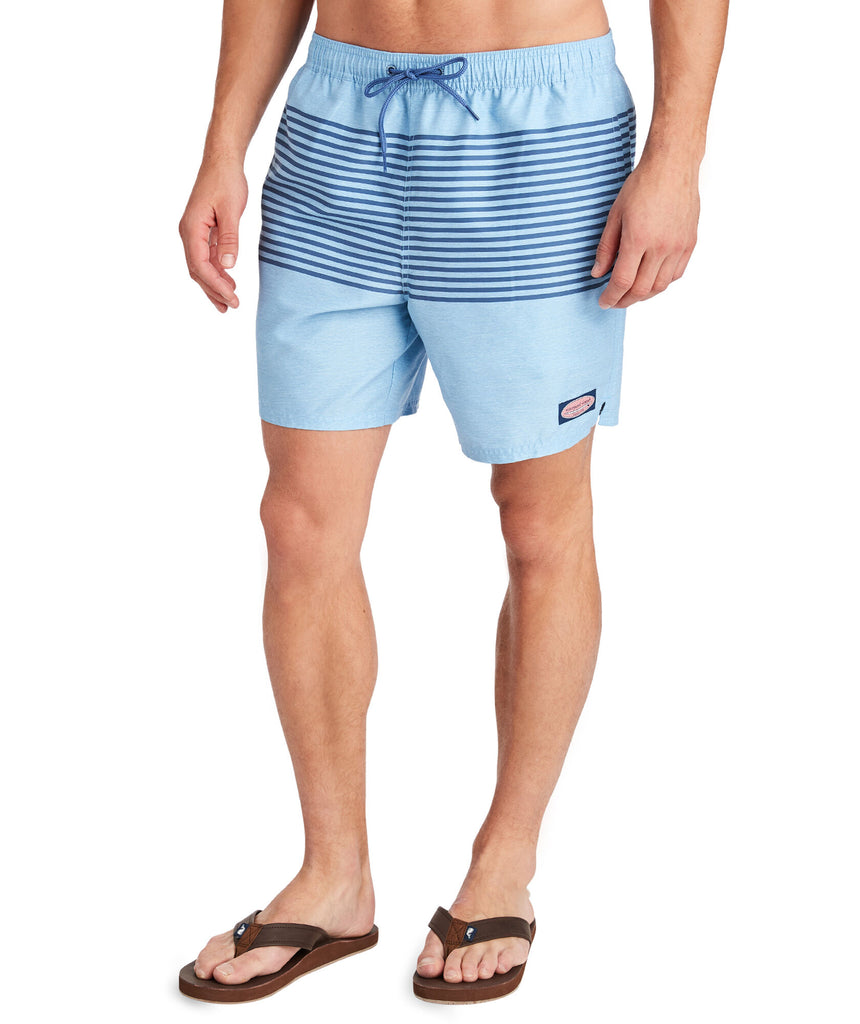 Vineyard Vines Heathered Stripe swim trunk is sure to be a hit on the water this summer. Shop Bennetts Clothing for a large selection of the latest fashions from Vineyard Vines