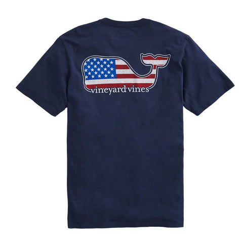 Vineyard Vines Americana Whale  t-shirt is preppy, fun, and eye catching. Shop Bennetts Clothing for a large selection of Vineyard vines and same day shipping