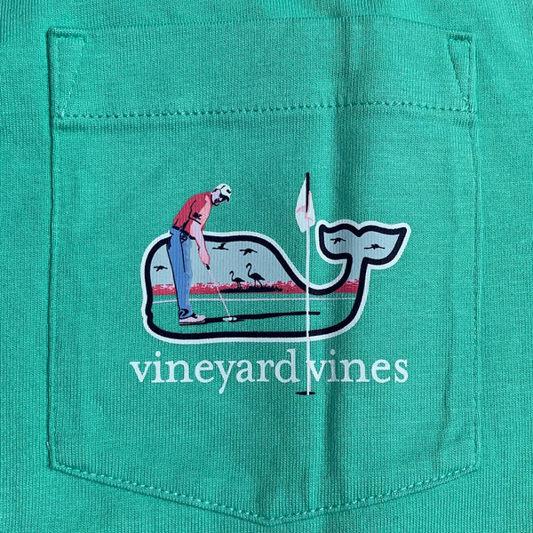 Vineyard Vines Beach Golf Whale Fill Short Sleeve T-shirt-Antigua Green