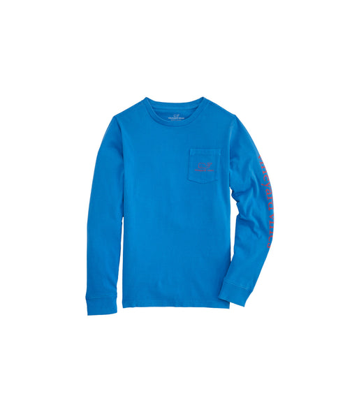 Vineyard Vines Kid's Vintage Whale Long Sleeve T-shirt-Azure Blue