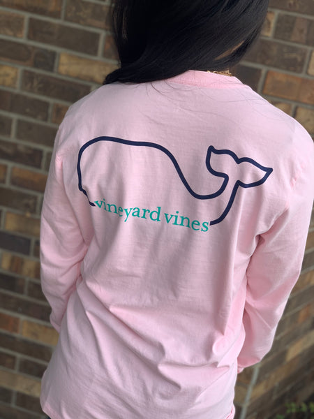 Vineyard Vines Whale Long Sleeve Pocket T-shirt-Flamingo Pink
