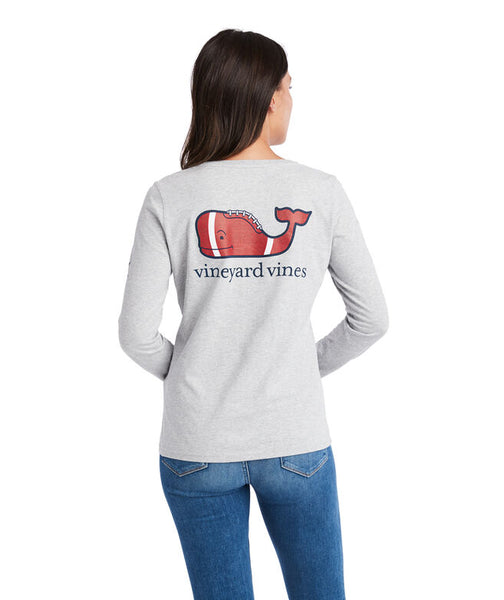 Vineyard Vines Football Whale Pocket T-Shirt-Grey Heather