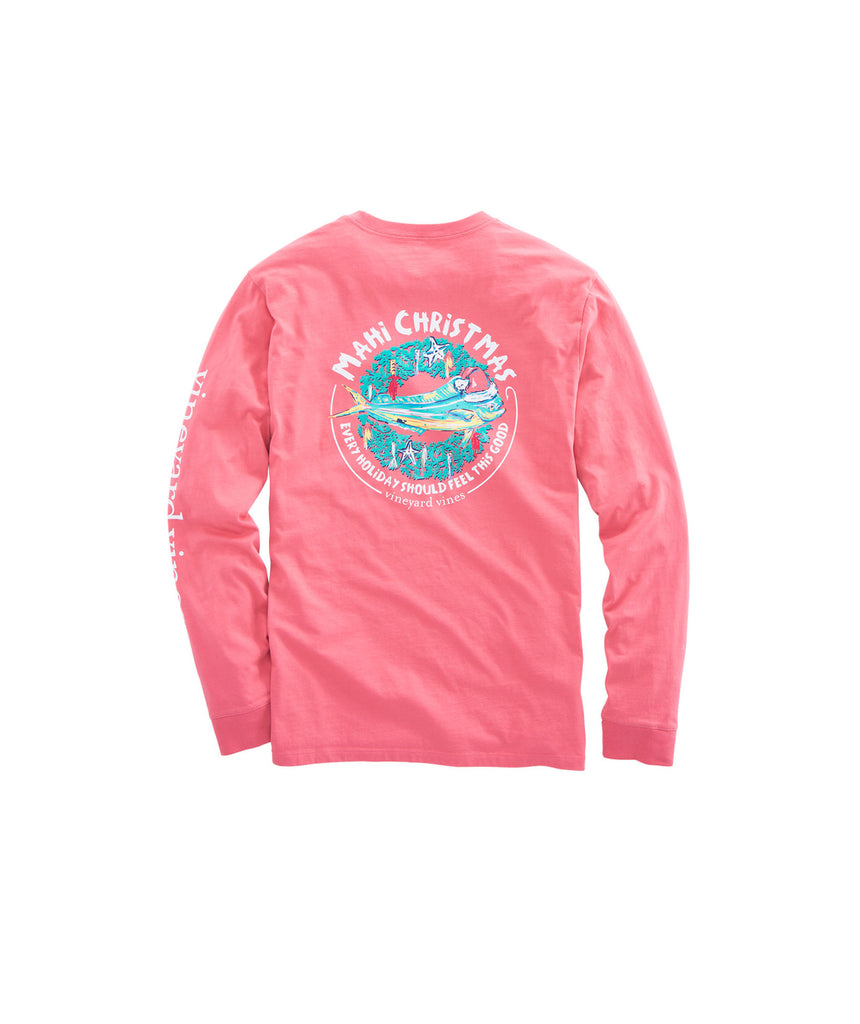 Vineyard Vines Mahi Christmas Long Sleeve T-shirt-Jetty Red
