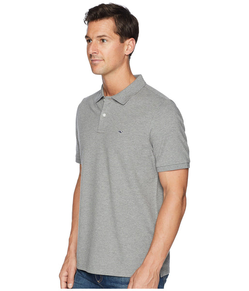 Vineyard Vines Stretch Pique Heathered Polo-Grey Heather