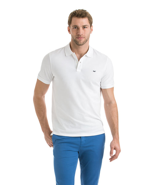 Vineyard Vines Stretch Pique Polo-White Cap
