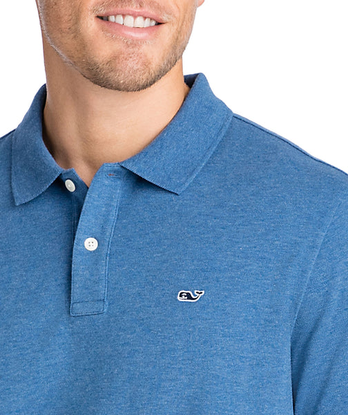 Vineyard Vines Stretch Pique Heathered Polo-Moonshine