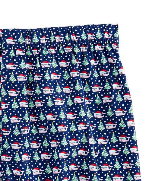 Vineyard Vines Santa Whale Tree Boxer Shorts-Deep Blue