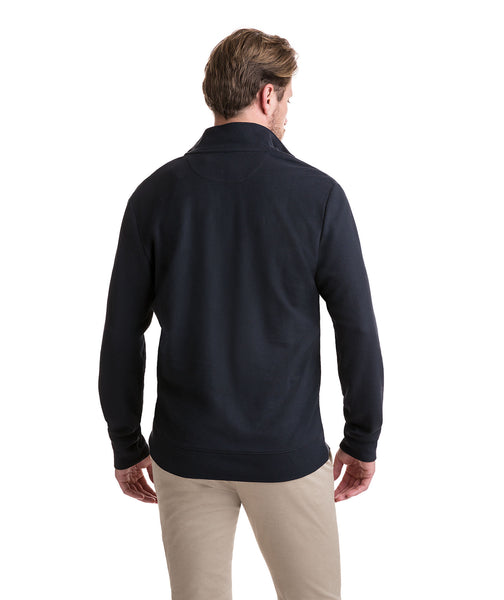 Vineyard Vines Reverse Oxford Pique 1/4 Zip Pullover-Black