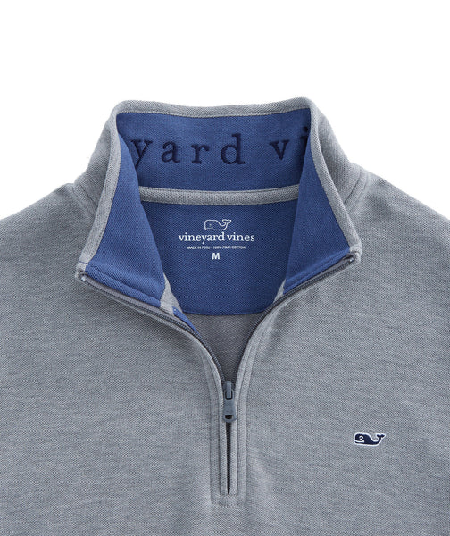 Vineyard Vines Reverse Oxford Pique 1/4 Zip Pullover-Graphite
