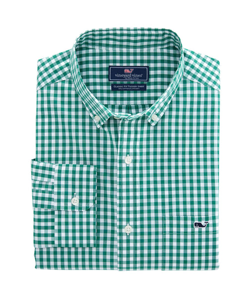 Vineyard Vines Carleton Gingham Tucker Shirt-Green Meadow