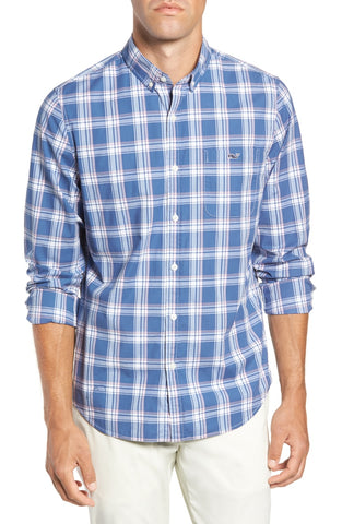 Vineyard Vines Ash Creek Plaid Slim Tucker Shirt-Moonshine