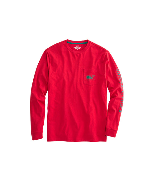 Vineyard Vines Vintage Whale Fill Holiday Long Sleeve T-shirt-Vermilion