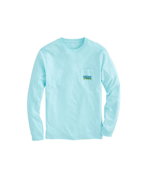 Vineyard Vines Mahi Texture Long Sleeve Pocket T-shirt-Island Paradise