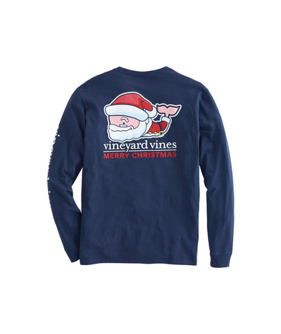 Vineyard Vines Santa Whale Christmas Tee -Shop Bennetts Clothing for the best in name brand menswear with same day shipping