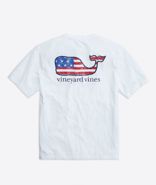 Vineyard Vines Flag Whale T-Shirt-White Cap
