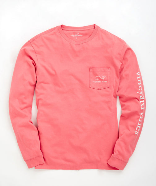 Vineyard Vines Vintage Whale Long Sleeve Pocket T-shirt-Lobster - Bennett's Clothing - 2