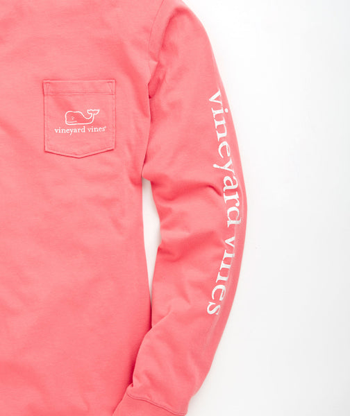 Vineyard Vines Vintage Whale Long Sleeve Pocket T-shirt-Lobster - Bennett's Clothing - 3