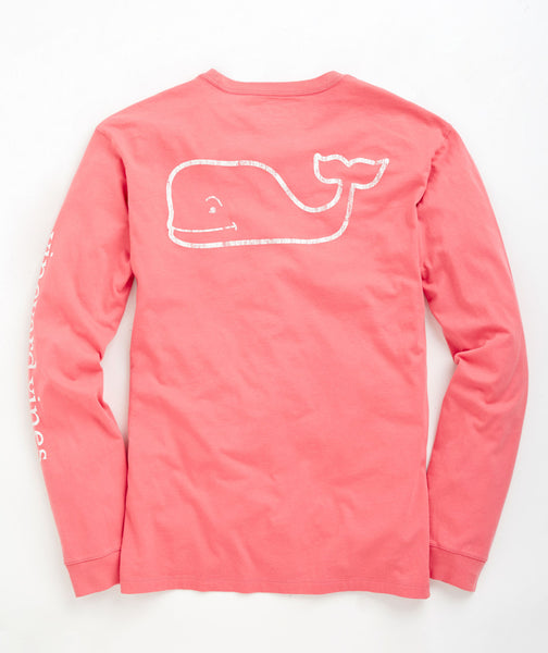 Vineyard Vines Vintage Whale Long Sleeve Pocket T-shirt-Lobster - Bennett's Clothing - 1