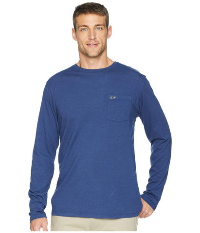 Vineyard Vines Overdyed Heather Long Sleeve Tee-Deep Bay