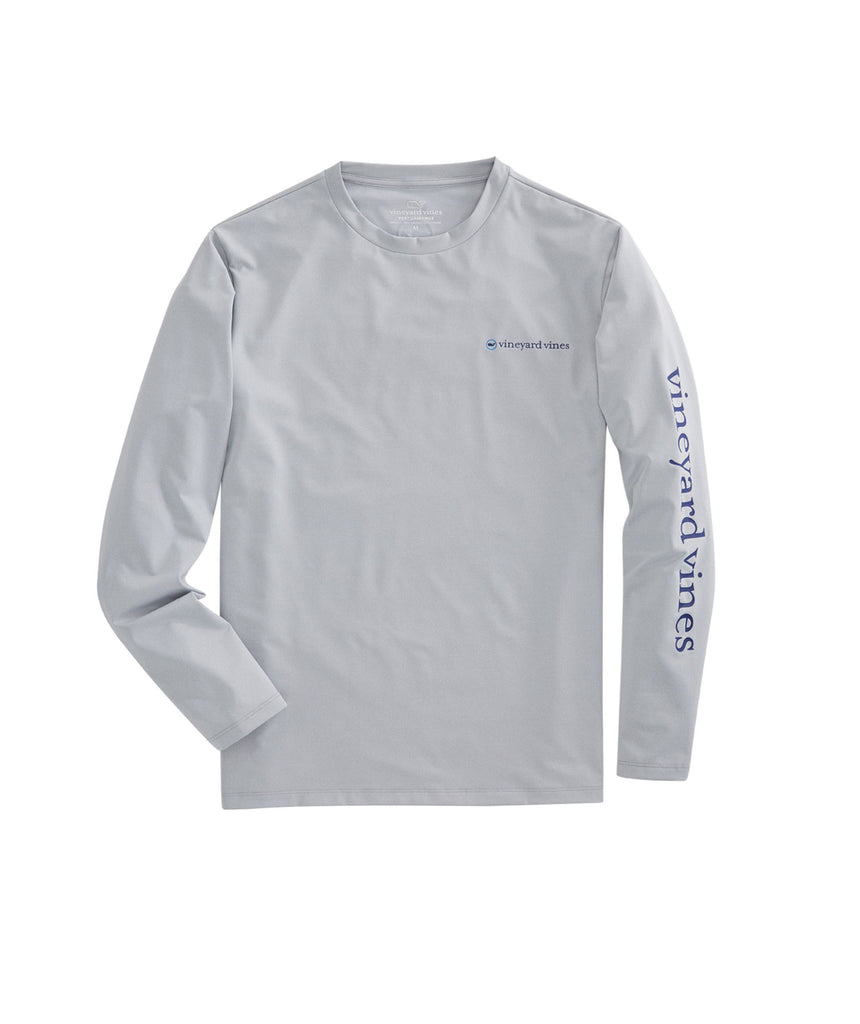 Vineyard Vines Performance Sport Long Sleeve T-shirt-Grey Heather