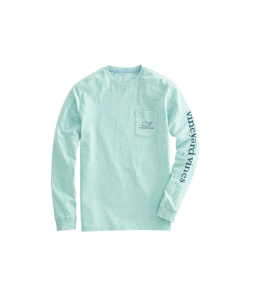 Vineyard Vines Heather Vintage Whale Long Sleeve T-shirt-Antigua Green