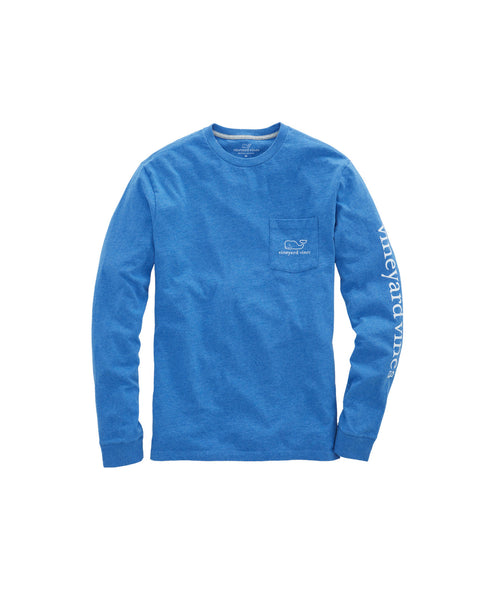 Vineyard Vines Vintage Whale Long Sleeve Pocket T-shirt-Royal Ocean