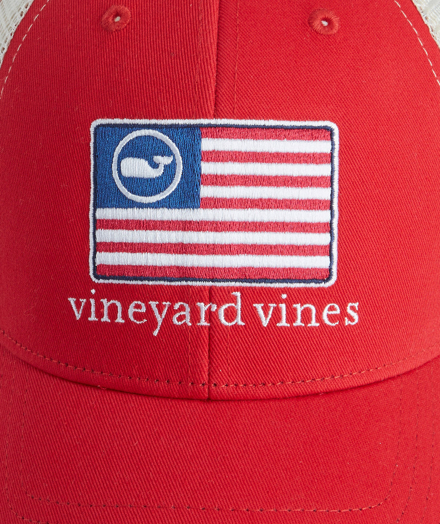 730dc65244fdf Vineyard Vines American Flag Whale Trucker Hat-Barberry – Bennett s ...