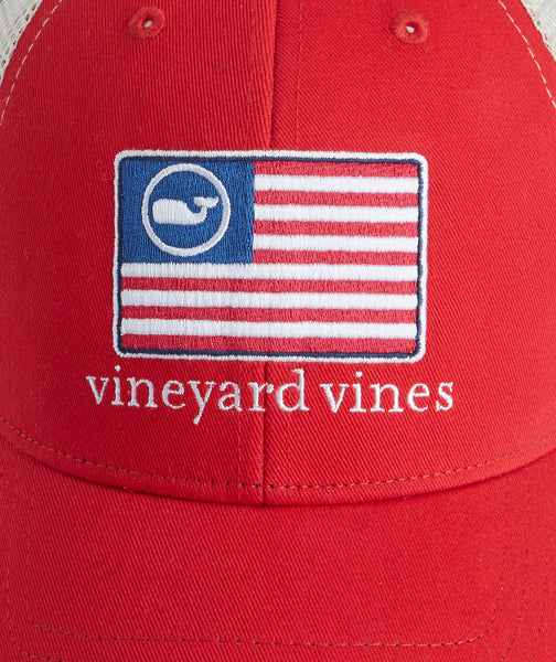 Vineyard Vines American Flag Whale Trucker Hat-Barberry
