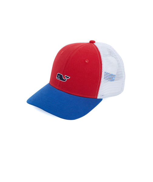Vineyard Vines High Profile Whale Trucker Hat-White Cap