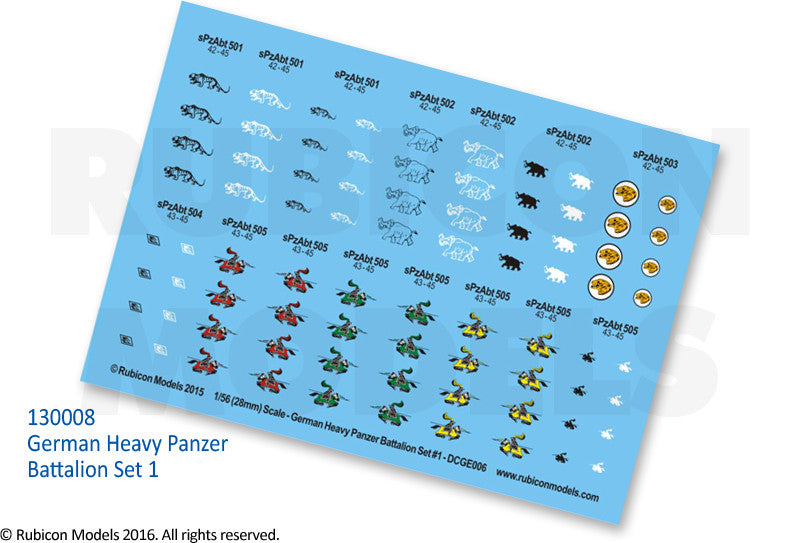 German Heavy Panzer Battalion Set 1 Decal Sheet